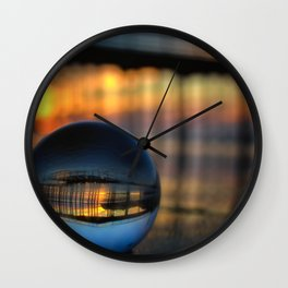 Avila Pier Captured in a crystal ball at sunrise Wall Clock