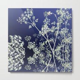 Dark Indigo Blue Wild Flowers Floral Abstract Metal Print