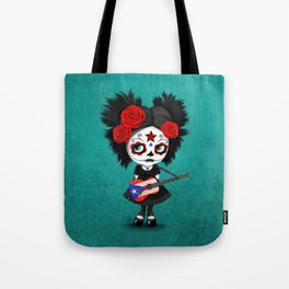 Day of the Dead Girl Playing Puerto Rican Flag Guitar Tote Bag