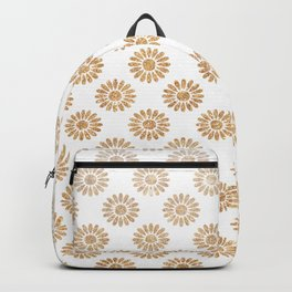 Trendy white faux gold glitter daisies floral pattern Backpack