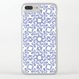 Blue elements of flowers collected in a dense pattern Clear iPhone Case