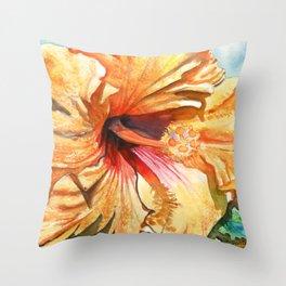 Tropical Yellow Hibiscus Throw Pillow