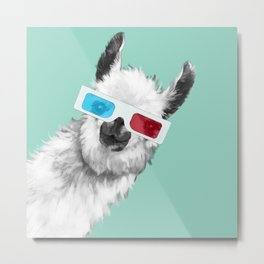 Sneaky Llama with 3D Glasses #01 Metal Print
