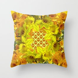 GOLDEN YELLOW SPRING DAFFODILS PATTERN GARDEN Throw Pillow