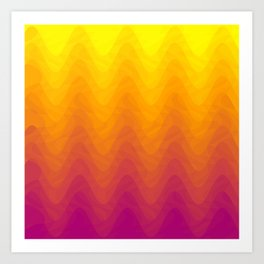 Pink and Yellow Ombre - Waves Art Print