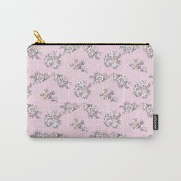 Modern hand painted pink white roses floral polka dots Carry-All Pouch