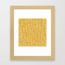 faces / mustard Framed Art Print