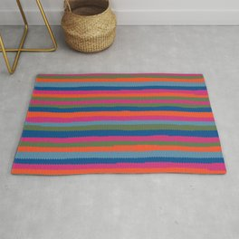 Pinking shears colorful stripes Rug