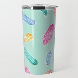 Crystals pattern - Light Green Travel Mug