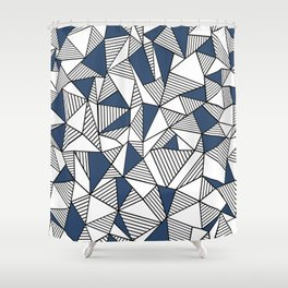 Abstraction Lines with Navy Blocks Shower Curtain