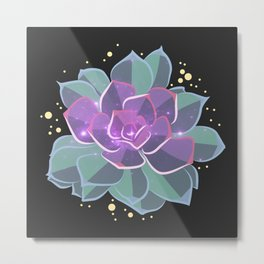 Space Succulent Metal Print
