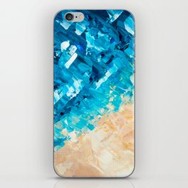 Deep | Abstract blue turquoise ocean beach acrylic brushstrokes painting iPhone Skin