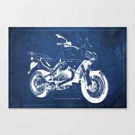Motorcycle blueprint,2010, Moto Guzzi Stelvio, 1200 4V,poster,man cave decoration,vintage art Canvas Print