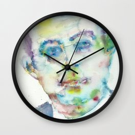 ANTOINE DE SAINT-EXUPERY - watercolor portrait.2 Wall Clock