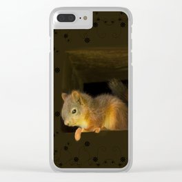Young squirrels peering out of a nest #decor #buyart #society6 Clear iPhone Case