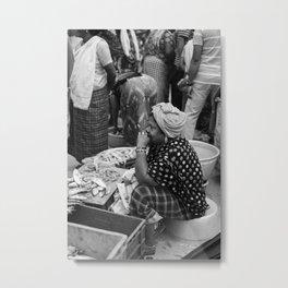 the fisherwoman waits Metal Print