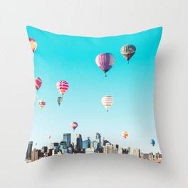 Minneapolis, Minnesota Skyline with Hot Air Balloons Over the City Skyline Throw Pillow