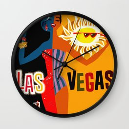 Vintage Las Vegas Travel Poster Wall Clock