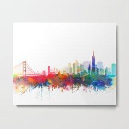San Francisco City Skyline Watercolor by zouzounioart Metal Print