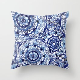 Delft Blue Mandalas Throw Pillow