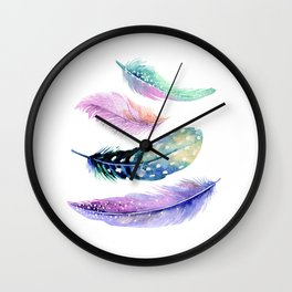 Watercolor feathers painting Wall Clock