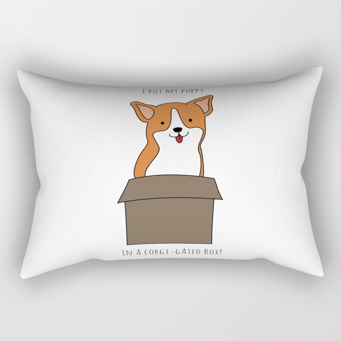 Corgi-gated Cardboard Rectangular Pillow