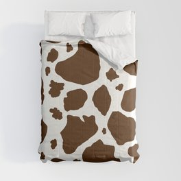 cow spots animal print dark chocolate brown white Comforters