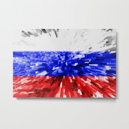 Extruded Flag of Russia Metal Print