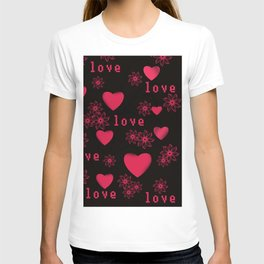 Abstract pattern with red c red hearts. T-shirt