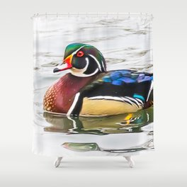 Wood Duck on the channel Shower Curtain