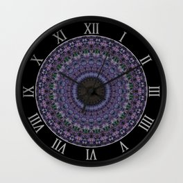 Mandala in blue and violet Wall Clock