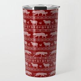 Ugly christmas sweater | Border collie red Travel Mug