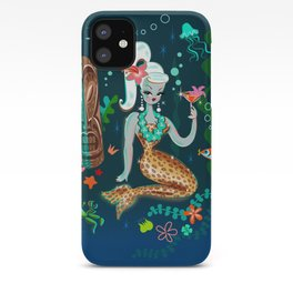 Blonde Leopard Martini Mermaid iPhone Case
