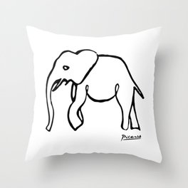 Pablo Picasso, Rare Elephant Drawing, Line Sketch Artwork, Prints, Posters, Bags, Tshirts, Men, Wome Throw Pillow