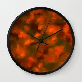 Red, Orange Floral Abstract Wall Clock