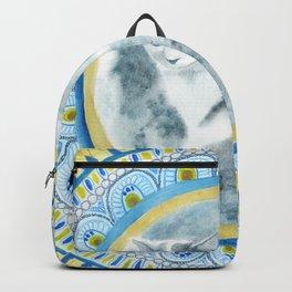 Cat Moon Indian Blossom Mandala Backpack