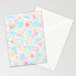 Modern Girly Pink Yellow Blue Paint Daub Art Stationery Cards
