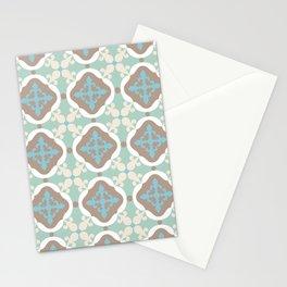 Moroccan tile - green, teal, blue, beige Stationery Cards