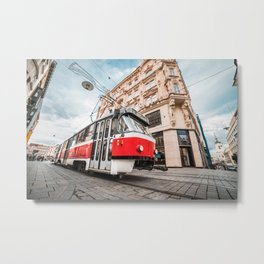 Typical Old Tram in Czech Republic Metal Print