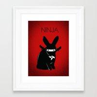 ninja Framed Art Prints featuring NINJA by RAGING BUNNIES
