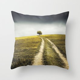 Grey sky Green tree 4 Throw Pillow