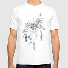 Death's Head Hawk Moth Totem MEDIUM Mens Fitted Tee White