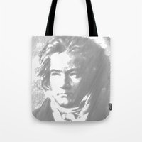 beethoven Tote Bags featuring Beethoven Portrait  by Cool Prints