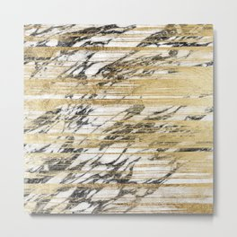 Chic Gold Brushstrokes on Black White Marble Metal Print