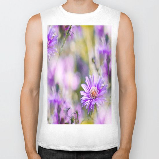Summer dream - purple flowers - happy and colorful mood Biker Tank