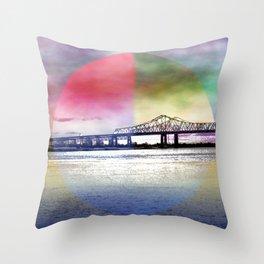 Crescent City Connection Bridge Throw Pillow