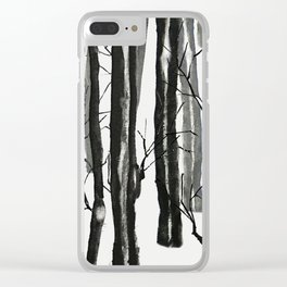 wood and snow Clear iPhone Case