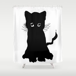 sweet black kitten digital painting Shower Curtain