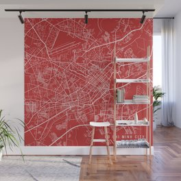 Ho Chi Minh City Map, Vietnam - Red Wall Mural