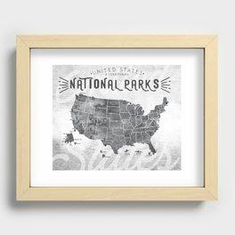 National Parks Map Recessed Framed Print